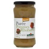 Purée pommes rhubarbes sans sucres ajoutés en pot de 360g